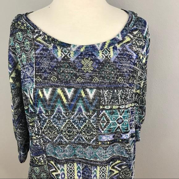 45091eea0d6 FRENCH LAUNDRY WOMEN AZTEC BLUE BLACK BLOUSE TOP